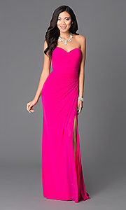 Abbie Vonn Ruched-Bodice Long Pink Prom Dress