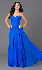 Abbie Vonn Long Strapless Chiffon Prom Dress with Pleated Bodice