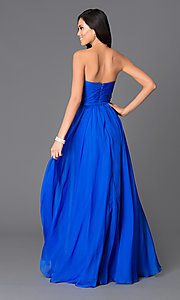 Image of long pleated-bodice chiffon prom dress Style: LF-AV-0704 Back Image
