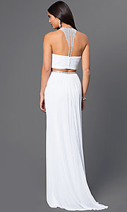 Image of long two-piece sheer-illusion bodice high-neck dress Style: LF-AV-0828 Back Image