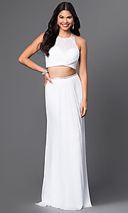 Image of long two-piece sheer-illusion bodice high-neck dress Style: LF-AV-0828 Front Image