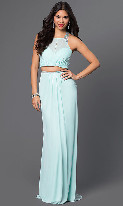 Image of long two-piece sheer-illusion bodice high-neck dress Style: LF-AV-0828 Detail Image 1
