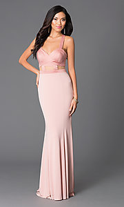 Abbie Vonn Open-Back Long Blush-Pink Prom Dress