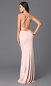 Image of Abbie Vonn open-back blush-pink prom dress Style: LF-AV-0834 Back Image