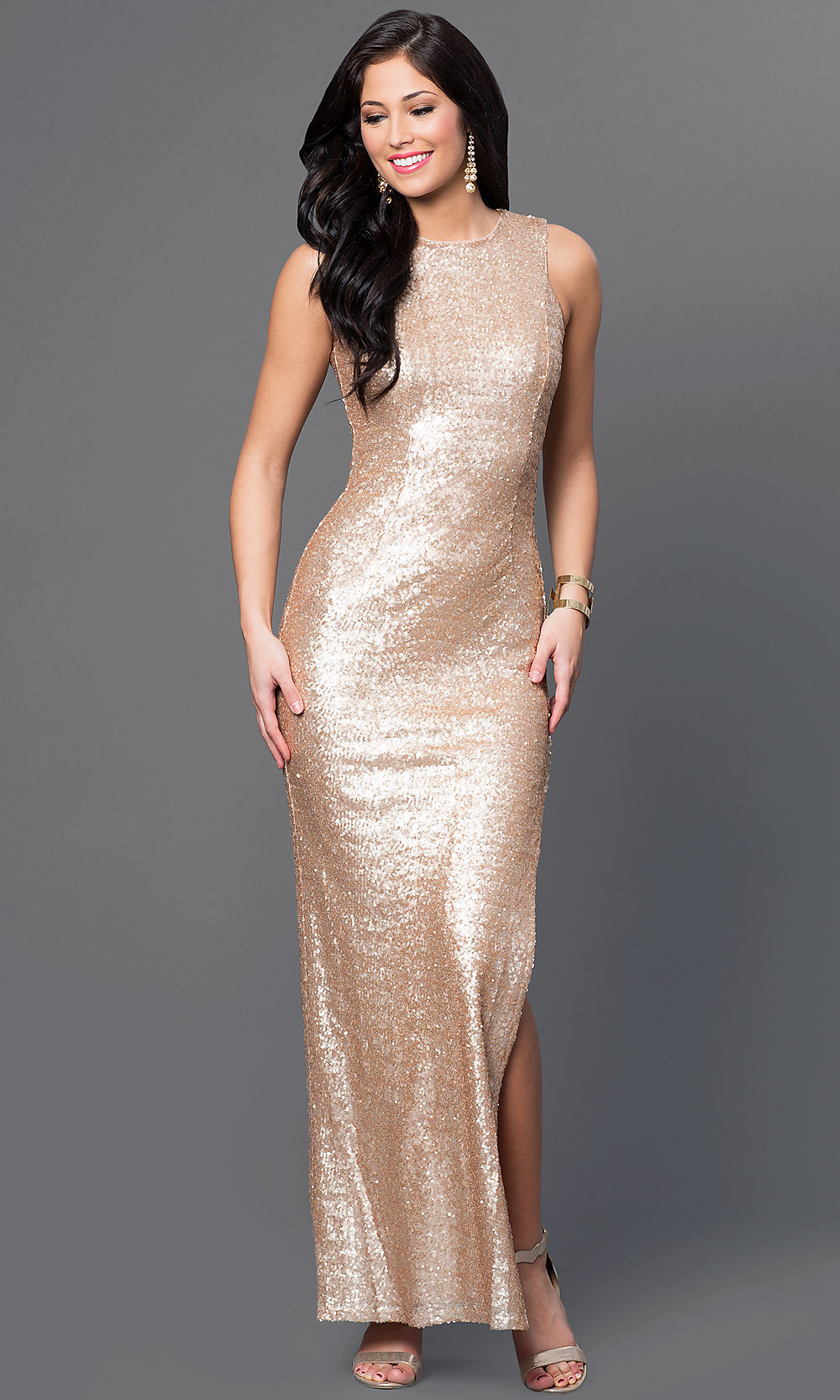 Long Gold Sequin Emerald Sundae Dress-PromGirl