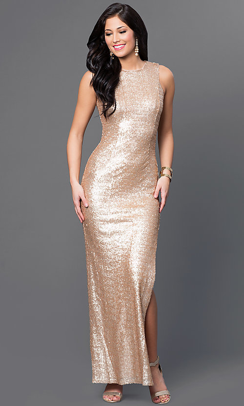 Image of gold sequin sleeveless Emerald Sundae dress Style: EM-CKL-1733-710 Front Image
