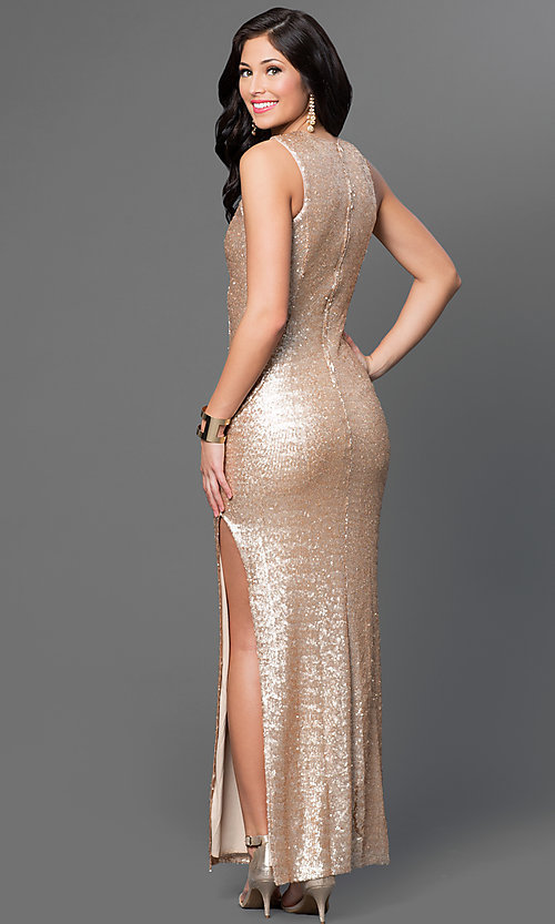 Image of gold sequin sleeveless Emerald Sundae dress Style: EM-CKL-1733-710 Back Image