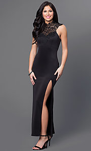 Image of long lace neckline sleeveless side-slit open-back bow closure dress Style: EM-CIN-1003-001 Front Image