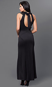 Image of long lace neckline sleeveless side-slit open-back bow closure dress Style: EM-CIN-1003-001 Back Image
