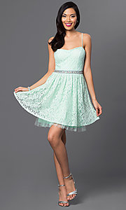 Image of short sweetheart lace party dress with adjustable spaghetti straps and jewel embellished waist Style: EM-ELS-2412-371 Detail Image 1