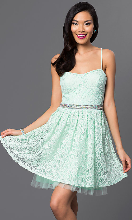 Image of short sweetheart lace party dress with adjustable spaghetti straps and jewel embellished waist Style: EM-ELS-2412-371 Front Image