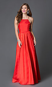 Long Open Back High Neck Satin Prom Dress SSD-3376 by Swing Prom