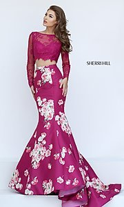 Image of two piece long sleeve lace crop top floral print mermaid skirt floor length gown  Style: SH-50488 Front Image