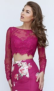 Image of two piece long sleeve lace crop top floral print mermaid skirt floor length gown  Style: SH-50488 Detail Image 1