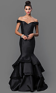 Image of Jovani off-the-shoulder mermaid dress Style: JO-31100 Front Image