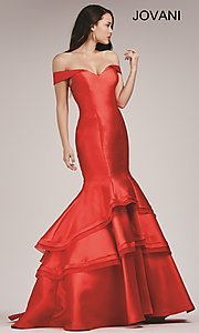 Image of Jovani off-the-shoulder mermaid dress Style: JO-31100 Detail Image 1