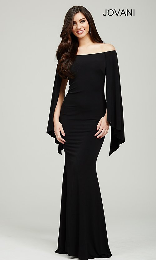 Image of long off the shoulder wing sleeve dress Style: JO-21799 Front Image