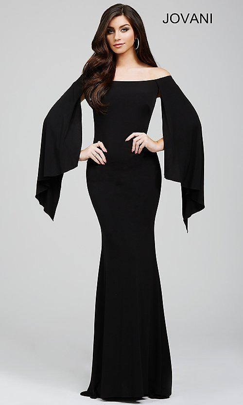 Image of long off the shoulder wing sleeve dress Style: JO-21799 Detail Image 1