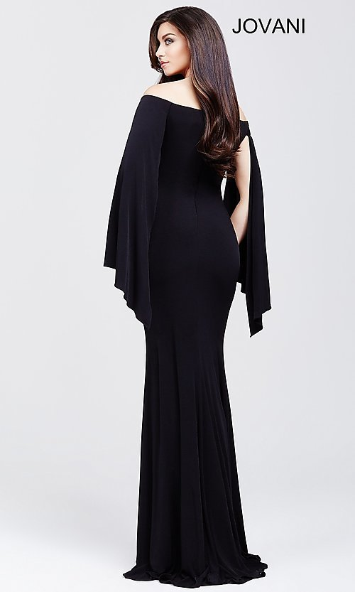 Image of long off the shoulder wing sleeve dress Style: JO-21799 Back Image