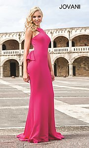 Image of floor length high neck open back dress Style: JO-21899 Back Image