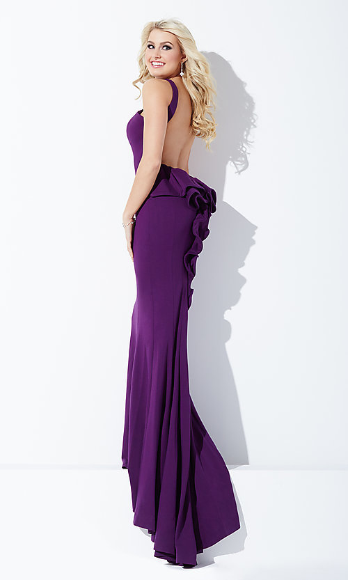 Image of floor length high neck open back dress Style: JO-21899 Detail Image 2