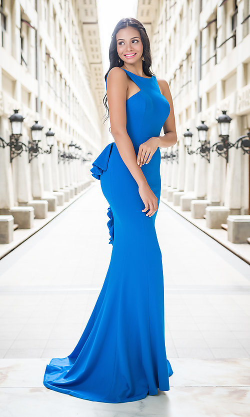 Image of floor length high neck open back dress Style: JO-21899 Detail Image 1