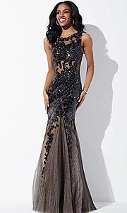 Illusion Long Jovani Embroidery Dress