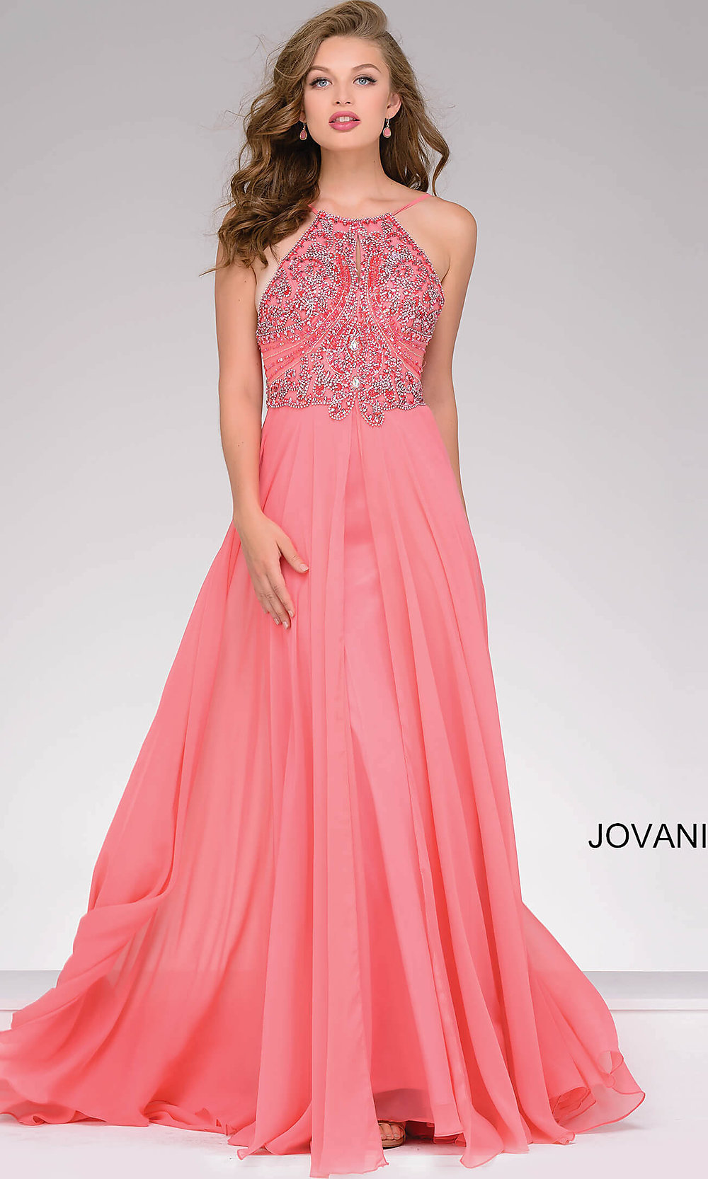 High Neck Beaded Top Jovani Prom Dress-PromGirl