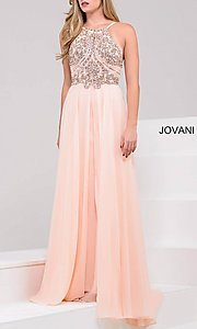 Image of long high neck beaded top open back dress Style: JO-92605 Detail Image 3