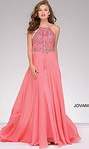 Image of long high neck beaded top open back dress Style: JO-92605 Front Image