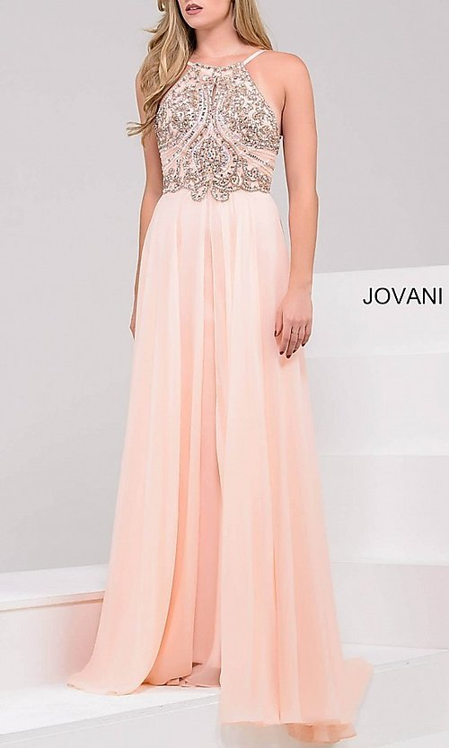 Image of long high neck beaded top open back dress Style: JO-92605 Detail Image 2