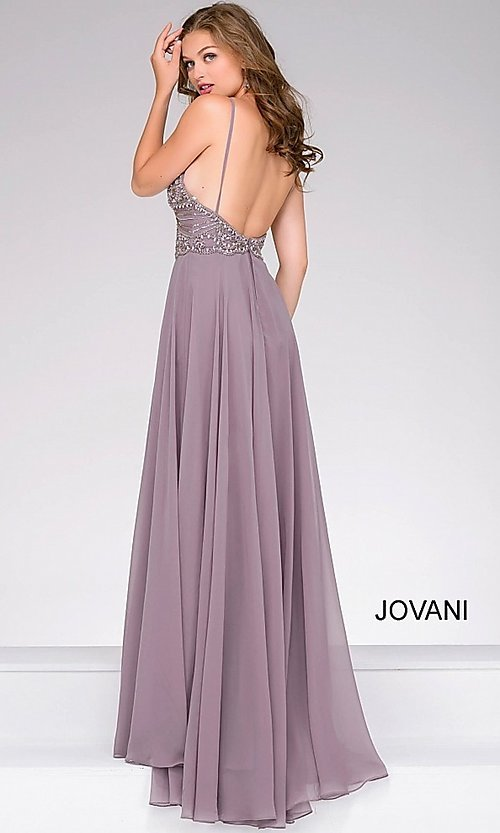 Image of long high neck beaded top open back dress Style: JO-92605 Back Image
