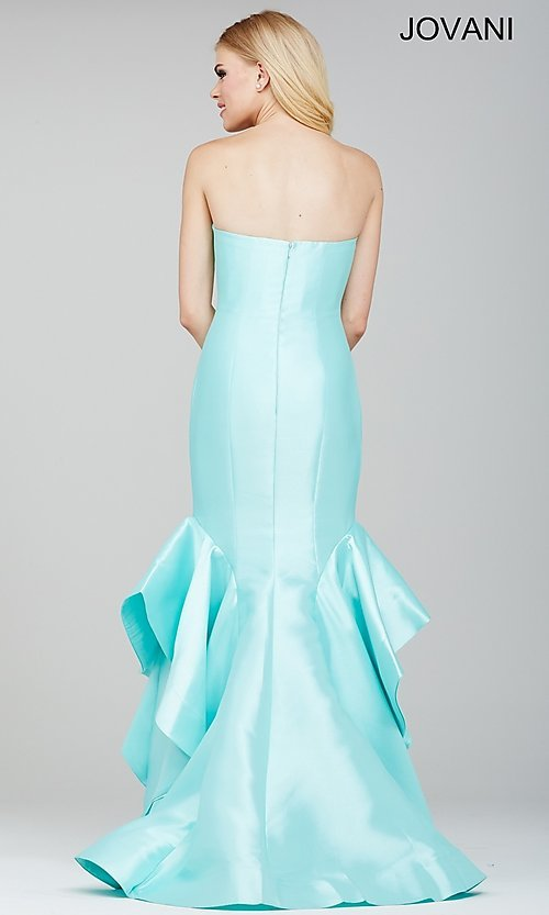 Image of floor length strapless sweetheart mermaid dress Style: JO-28900 Back Image