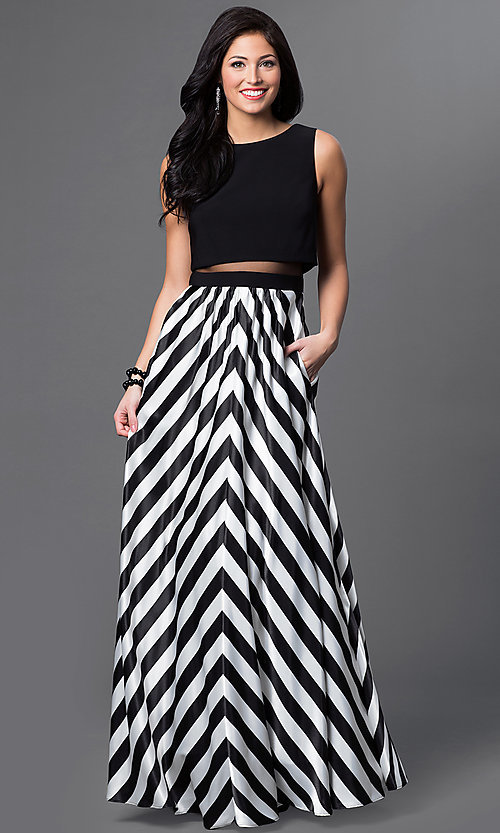 Long mock two-piece sheer waist black top black and white bottom dress  Style: BA-A16569 Front Image
