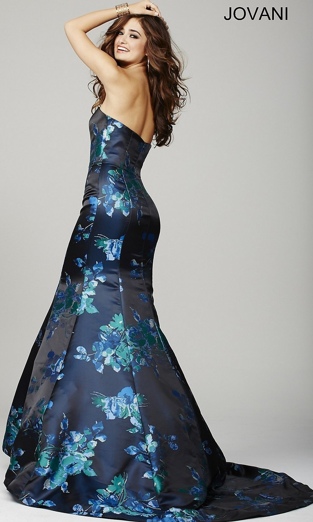 Floral Print Strapless Mermaid Dress- PromGirl