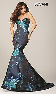 Floral Print Strapless Mermaid Dress by Jovani