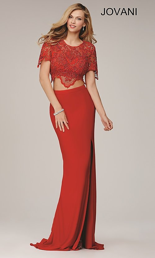 Image of two-piece red lace-top Jovani formal dance dress. Style: JO-28428 Front Image