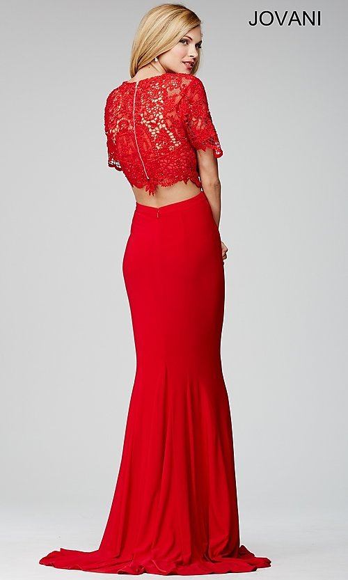 Image of two-piece red lace-top Jovani formal dance dress. Style: JO-28428 Back Image