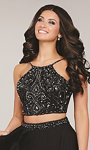 Image of long sleeveless two piece beaded top dress Style: JO-33848 Detail Image 1