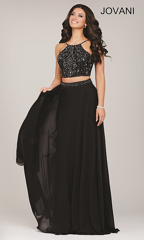 Image of long sleeveless two piece beaded top dress Style: JO-33848 Front Image