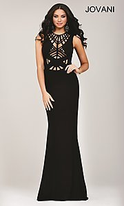 Long Illusion Cut Out Jovani Prom Dress