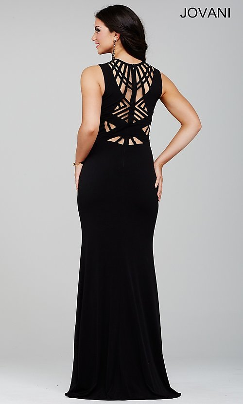 Image of long sleeveless illusion cut out dress Style: JO-21494 Back Image