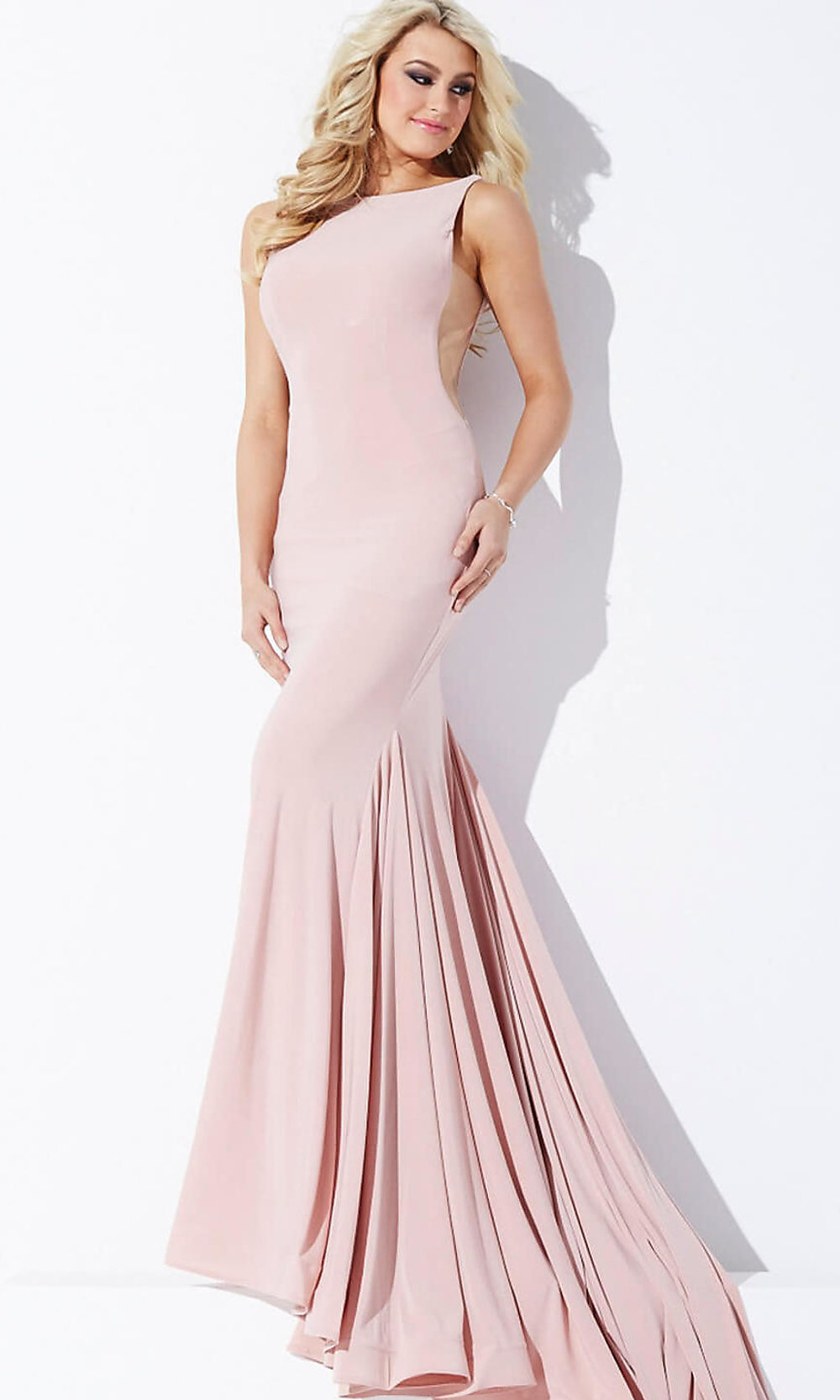 Jovani Floor-Length Open-Back Dress - PromGirl