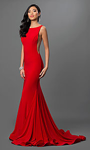 Image of Jovani floor-length open-back sleeveless dress Style: JO-37592 Detail Image 1