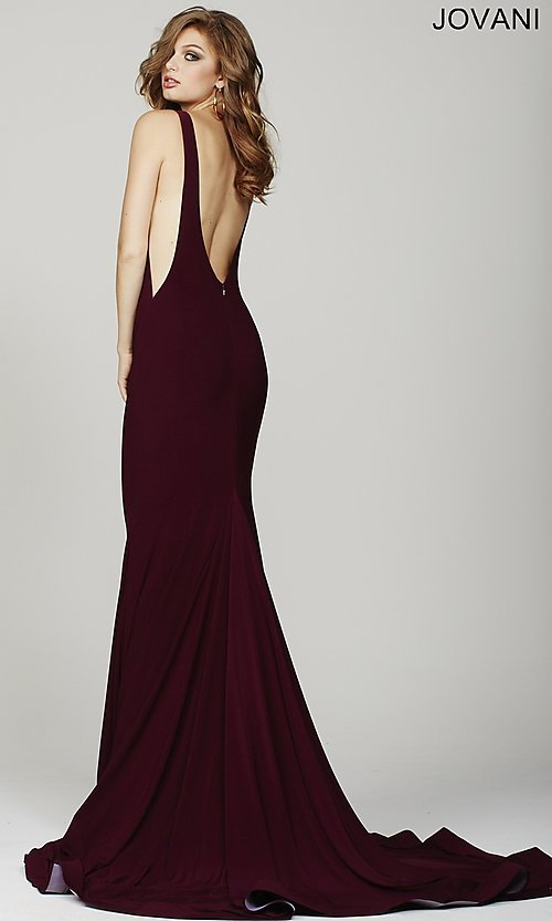 Image of Jovani floor-length open-back sleeveless dress Style: JO-37592 Back Image
