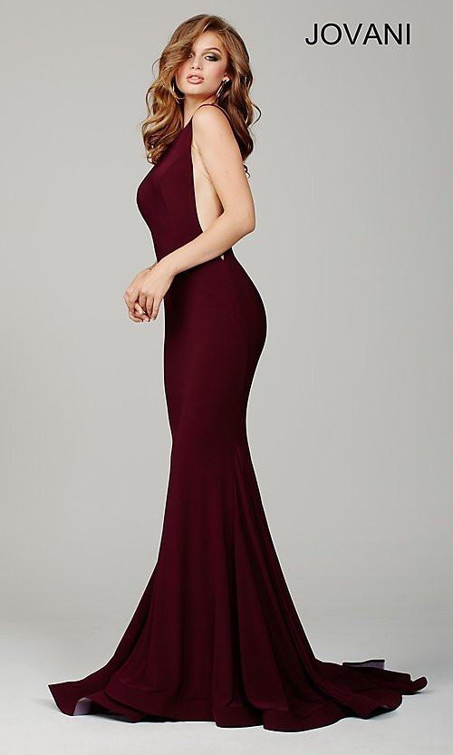 Image of Jovani floor-length open-back sleeveless dress Style: JO-37592 Front Image