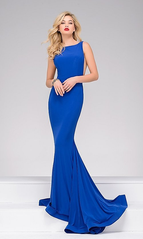 Image of Jovani floor-length open-back sleeveless dress Style: JO-37592 Detail Image 2