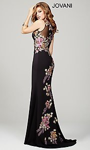 Long Black Sheer-Back Jovani Dress with Applique