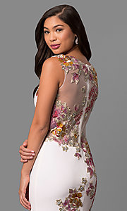 Image of sheer-back Jovani dress with applique. Style: JO-33679 Detail Image 2