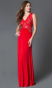 Image of long red v-neck sleeveless lace bodice dress Style: SG-ASWiF1AHA Front Image